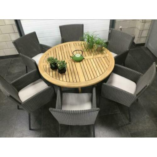 Tuinset 4 SEASONS 6 wicker TEAK tafel : NIEUWSTAAT !